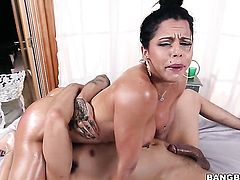 Brunette Diamond Kitty with round butt enjoys fuck hole stretching insane porn action