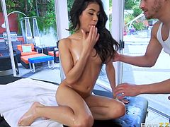 Veronica has fucked smaller guys and came from them doing it, but she cums like a river, when she gets a big one. Xander's thick stick will do nicely for her. She gets filled up with his fingers first. Up next, hot Latina pussy being stretched!