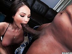 Brunette Raven Bay with round booty gets a good interracial fuck
