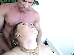 Latin Klara Gold gets her backdoor poked rough by Marco Banderas after she gives mouth job