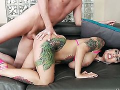 Francesca Le gets her throat stuffed full of man meat in oral action with Mark Wood before she takes it in her bottom