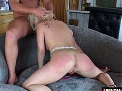 Pale maid with the blonde hair experiences the double penetration
