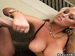 Blonde Abbey Brooks with huge jugs and trimmed snatch has some time to play with her slit
