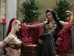 Jessy makes her slave drop to her knees and worship her cock. The slave salivates, at the though of sucking the amazing tranny cock, that is before her. The asian tranny goddess lays back and enjoys a pleasurable blowjob.