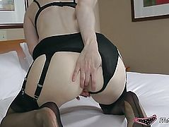 Aged stocking lady fills her booty and bawdy cleft