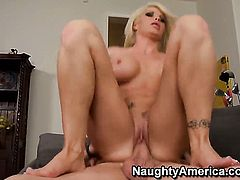 Evan Stone plays with soaking wet pussy of Brooke Haven with gigantic boobs and trimmed bush before he bangs her hard