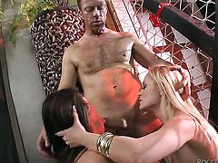 Nataly Gold makes Rocco Siffredis dick harder before getting her mouth drilled before she gets cornholded