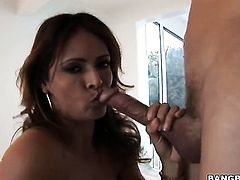 Brunette Monique Fuentes with phat booty gets turned on then mouth fucked