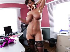 Brunette Lisa Ann with giant jugs lets man put his sausage in her mouth