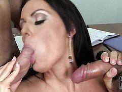With giant tits and trimmed snatch is on the way to the height of pleasure with her mans man meat in her mouth