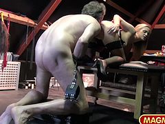 Vinna Reed has a big kinky side of her. She shows it as a Dominatrix playing bondage tricks on an old guy in a BDSM equipped attic.