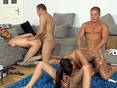 Visit official Group Sex Games's HomepageInsolent babes are more than pleased to hold and play with these two males dicks, sucking and fucking in raw hardcore group scenes