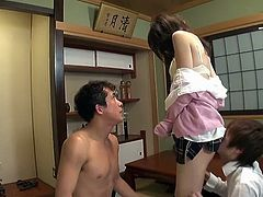 Sweet Japanese housewife sucking dick and fucking several guys