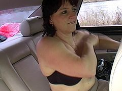 Mature babe Emilie (43) double teamed outdoors