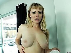 Blonde Adrianna Nicole gives it to hot sex partner in interracial sex action