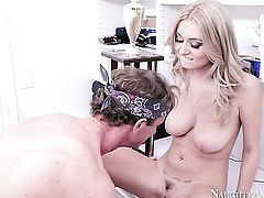 Blonde kitty Ryan McLane takes rod in her hands cuz her man is never enough