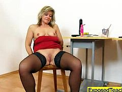 Cuddly mama teacher having some lousy solo fun in the classroom and she loves when they see her masturbate