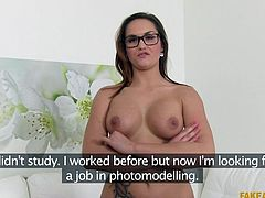 cute babe with glasses passes her casting