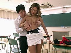 My student Aika, knew I had a thing for her, so when I wanted to stick my face in her massive mammaries, she let me do just that. She loved the way I touched her in the classroom. The babe bent over as I licked her bum.