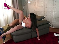 Milf Emma Butt with giant boobs and shaved bush is extremely horny in this cumshot scene