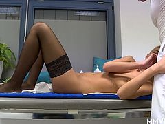 Gabriela is having problems with her back and needs a massage. Lucky for her the masseur has a big dick, not sure how that can hep but there you have it. She squirts and keeps on squirting.