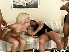 Blonde Kira Black with big tits and clean bush strips naked and gives anal pleasure to herself