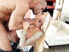 Blonde loves the way man moves his fuck stick up and down inside her love tunnel