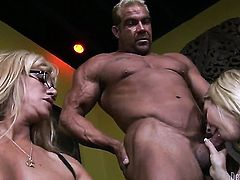 Cat Cleavage is in heaven eating dudes cum loaded man meat
