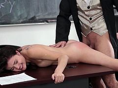 Visit official Innocent High's HomepageInsolent schoolgirl sure needs some stiff dick into her tin pussy and her teacher seems like the right guy to provide her some pleasure in class