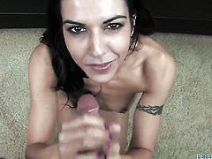 Lou Charmelle gets her mouth fucked silly by sex hungry guy