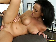 Adorably sexy cutie Linet Slag gets a mouthful of dick in blowjob action with hot dude