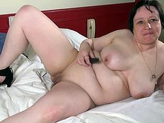 Anouk is a single mature lady. She did not have sex or seen a dick for a long time, but she has her black dildo that comforts her every day. She starts by touching herself slowly, caressing her saggy tits, until her old cunt gets wet.