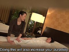 Massages gone wrong Japanese business hotel style as an attractive older masseuse accidentally brushes against the groin of a customer leading to an erection and more in HD with English subtitles