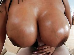 Brunette sexy Kevin Moore with huge jugs shows hardcore tricks with passion and desire