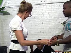 This scene contains a cougar's first time EVER with black cock- let alone two of them! Jenna Covelli goes back and forth between black cocks. Charlie and Rico take turns slamming into her mature pussy...