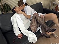 A busty nurse seduced a doctor, to fulfil her sexual needs. They were kissing and touching each other. Nurse licked doctor's body and removed her clothes. Then she started playing with her pussy and turned her on!