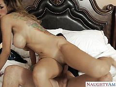 Brunette Yurizan Beltran with big breasts and clean bush is ready to rub mans rock hard love wand with her soft hands 24/7