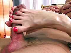 Kathia Nobili with bald twat gives guys throbbing love wand a try