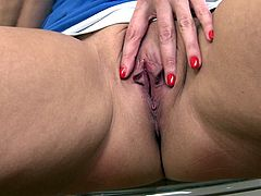 Laura is a mature woman with enormous boobs and big butt, who usually gives big boner to most of the men around her. Whenever she alone or she is stressed out and needs some relaxation, she plays with her fanny. Enjoy!