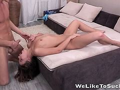 Teen oral beauty bends over so he can pound her