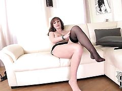 LaTaya Roxx with gigantic jugs and hairless muff fucks herself like crazy in solo scene