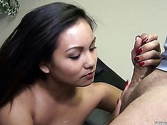 Experienced oriental sex kitten Lana Violet gets seriously used by horny dude in interracial hardcore action
