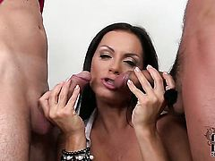 Sheila Grant with massive breasts and shaved pussy and a lucky guy enjoy oral sex they will never forget