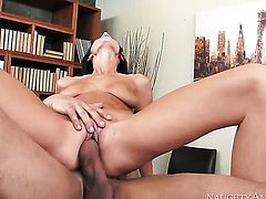 Brunette sticks guys dick up her bush in one-on-one steamy hardcore action