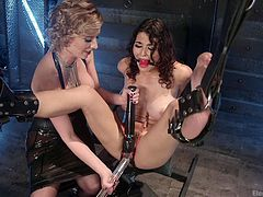 Watch Raven, getting infinitely long dildo in her wet red bloated pussy, while screaming. Cherry, her blonde busty mistresse, is actually cruel and angry, and is not going to stop her bullying soon. Raven was placed in a special device, so she can't escape easily. Have fun and enjoy the inciting details!