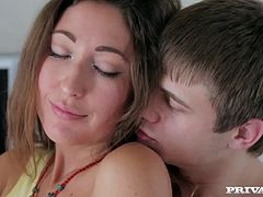 Brunette beauty and teen wonder Helena Him is chilling in her room when she is joined by a well hung stud. After ripping her clothes off, this lucky guy throws her over the bed and eats out her designer vagina from behind, getting his tongue deep in her snatch.