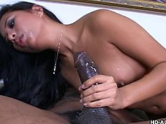 Sexy Nyomy Marcela is really impressed when seeing the big black burrito, she has in front of her. Showing how happy she is with this, she gives her best to take the huge cock in her mouth piece by piece. Then, she is riding it like a real slut.