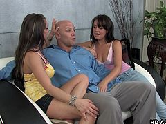 Penny and Rachel have already picked out their target to suck and fuck, and he lets them in his nice house, within seconds of seeing them at the door. They waste no time in teaming up to blow his nice cock.