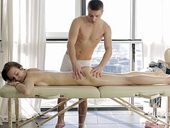 Pale beauty allows the horny masseur to enter her vaginal depths