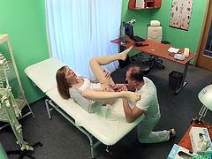 Luca Bella had itching in her pussy. Doctor told that she need the feeling of sex, during entire check-up, so she asked him for help. He kissed her and orderd her to open her legs for the proper pussy licking. After that, he took some samples.